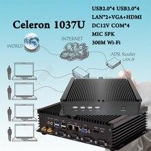 Intel Celeron 1037U Dual Core (1.8 ГГц, 2 М Кэш) 4 КОМ 2 Lan HTPC Бесплатная Доставка Промышленный Мини-ПК Безвентиляторный Неттоп Barebone usb