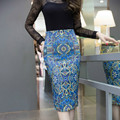 2016 Europa verão Grande Saia de Fenda Fina Alta moda Quente venda Mulheres Tops plus size Passo Ocupação Saia do sexo feminino 323G 30