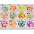 12 Nail Art Glitter RODADA Formas Confetti Lantejoulas Dicas Acrílico UV Gel C Estilo Venda Por 12 pçs/set