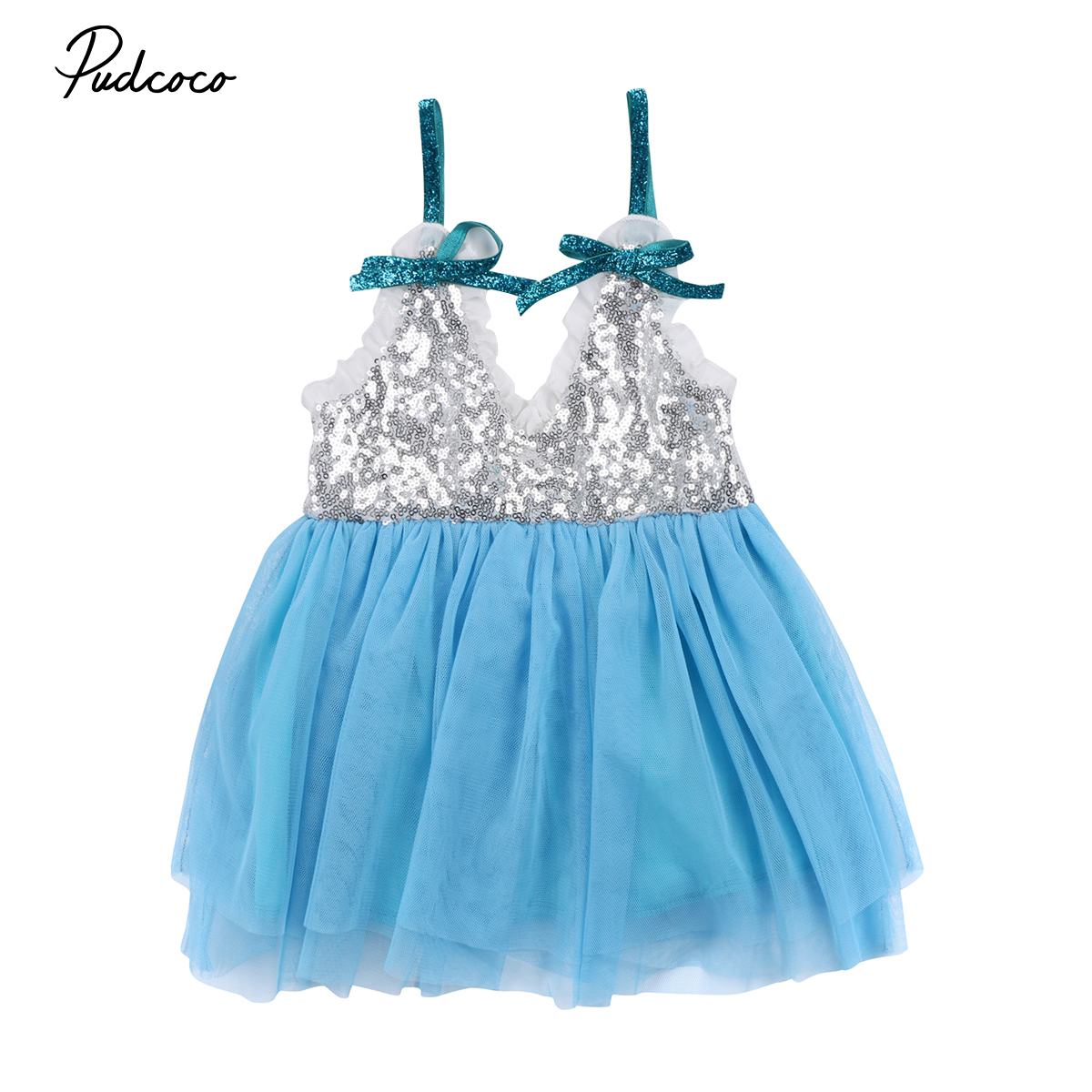 2018 New Princess Girls dress Kids Baby Girls Sequin blue Tulle ...