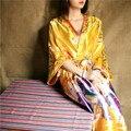 2016 халат сатинировки женщин невесты халаты винтаж кимоно печатных цветочные халат домашний халат желтый свадьба халаты