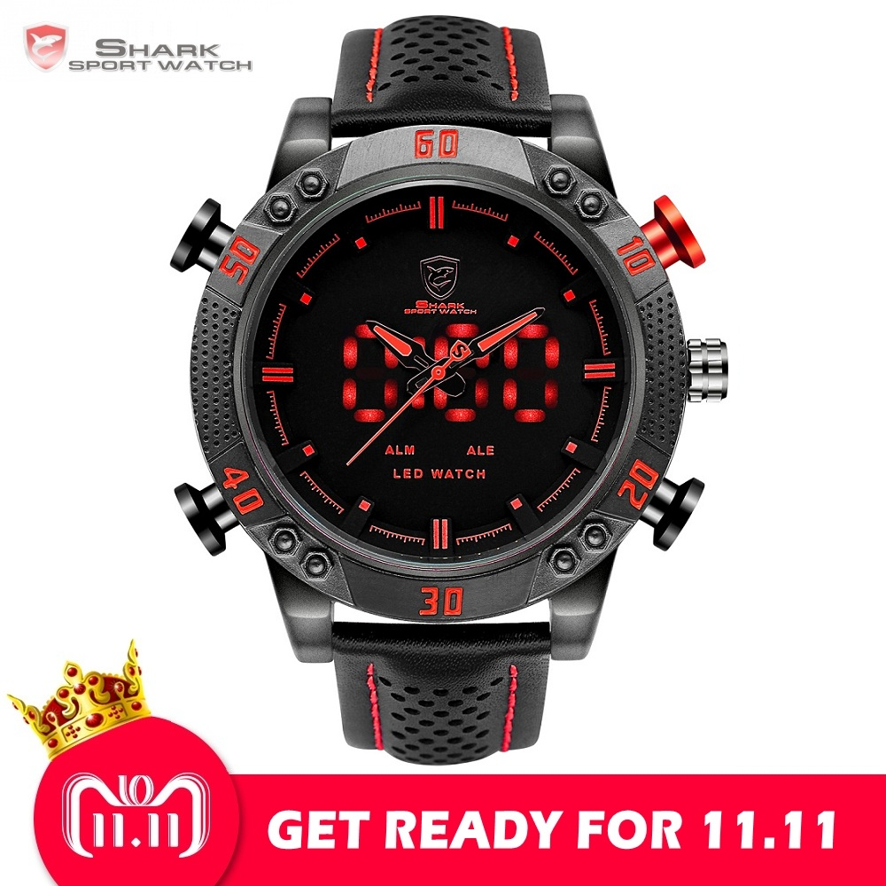 Kitefin Shark Sport Watch Brand Mens Military Quartz Red LED Hour Analog Digital Date Alarm Leather Wrist Watches Relogio /SH261 honhx smart watch mens digital led analog quartz alarm date simple sport wrist watch waterproof men watches relogio clock