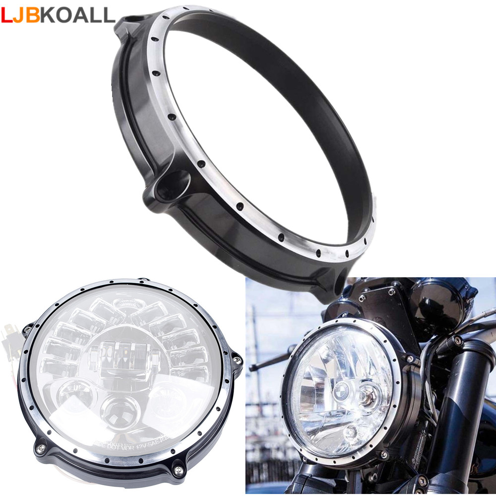 LJBKOALL Motorcycle CNC Aluminum 7 Headlight Lamp Headlamp Bezel Trim Ring Cover For BMW R Nine T Scrambler 2014 2015 2016 2017