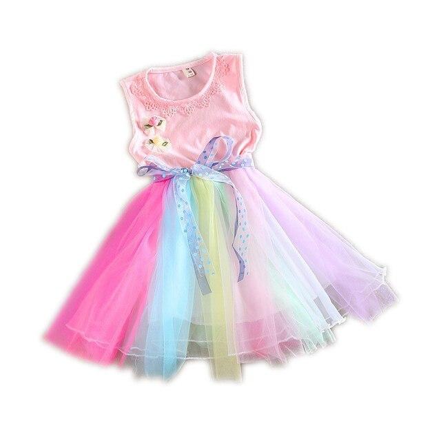 grande vendita 8f0a8 22a9f US $18.47 |Bambini di estate del vestito della principessa tulle arcobaleno  abiti di pizzo bambino scherza i vestiti senza maniche partito tutu ...