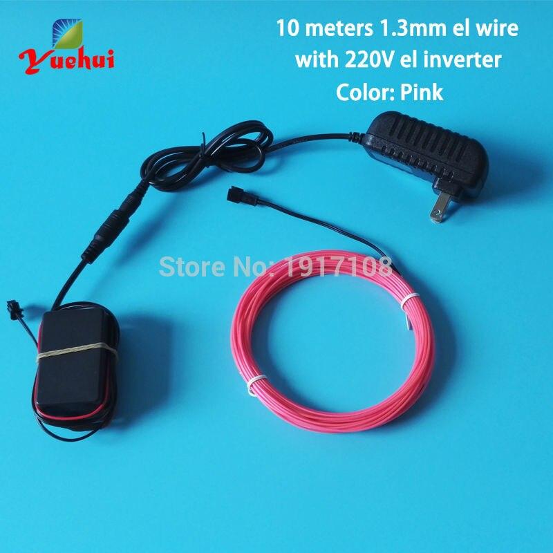1,3mm 10M EL Inverter Flexibilní LED vlákno Neonové světlo záře vodotěsné EL drát lano kabel AC220V pro kostým Party dekorace  t
