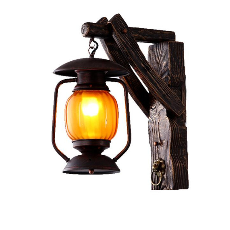 Iets Nieuws Vinatge Loft Exotische Hout Glas Lantaarn E27 Wandlamp voor Entree XF72