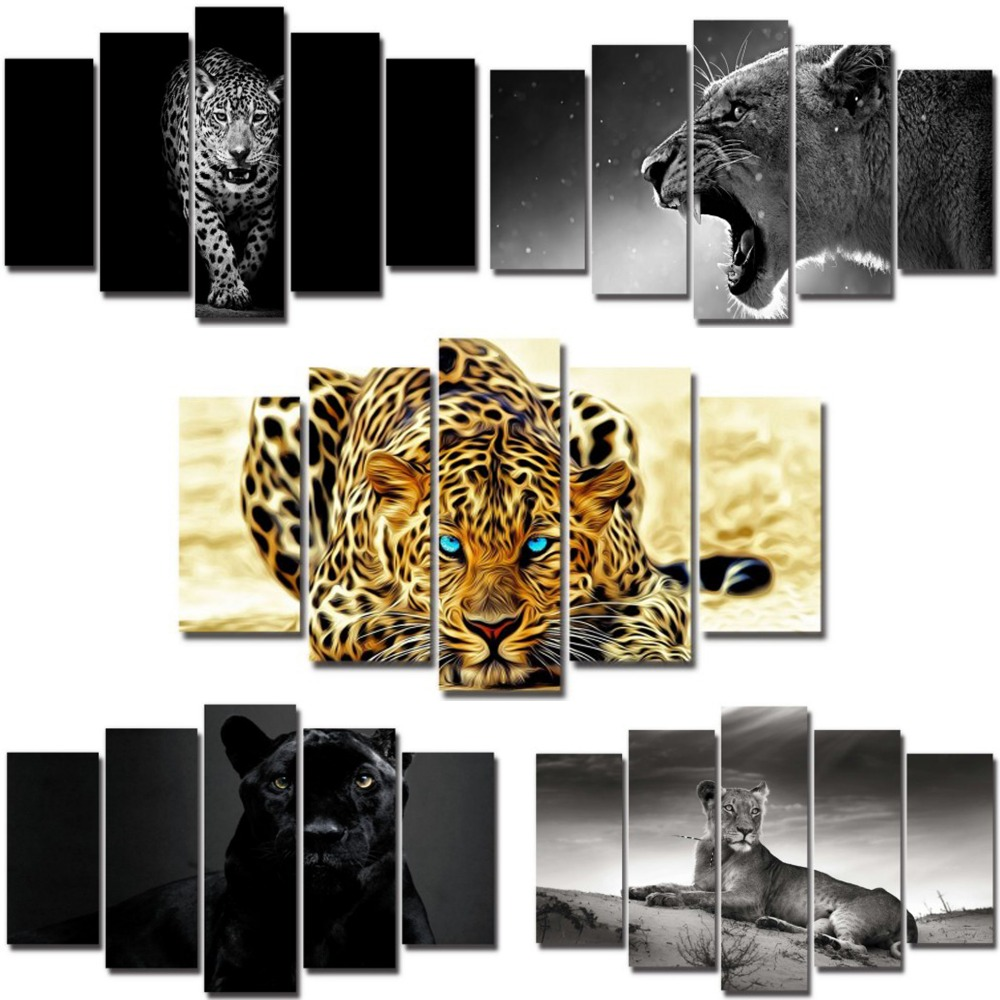 Modern 5 pieces canvas painting 3D leopard animals series wall mural picture art printing artwork ready to hang living room