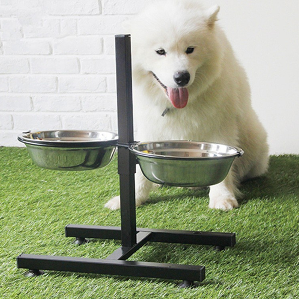 Dog Cat Stainless Steel Adjustable Food Water Feeder Puppy Travel Dish Accessories Portable Durable Pet Feeding Double Bowl CW20