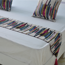 European style Doppler color stripes table runner  Colorful Bed Flag of City Style Characteristic Hotel Model room decorative