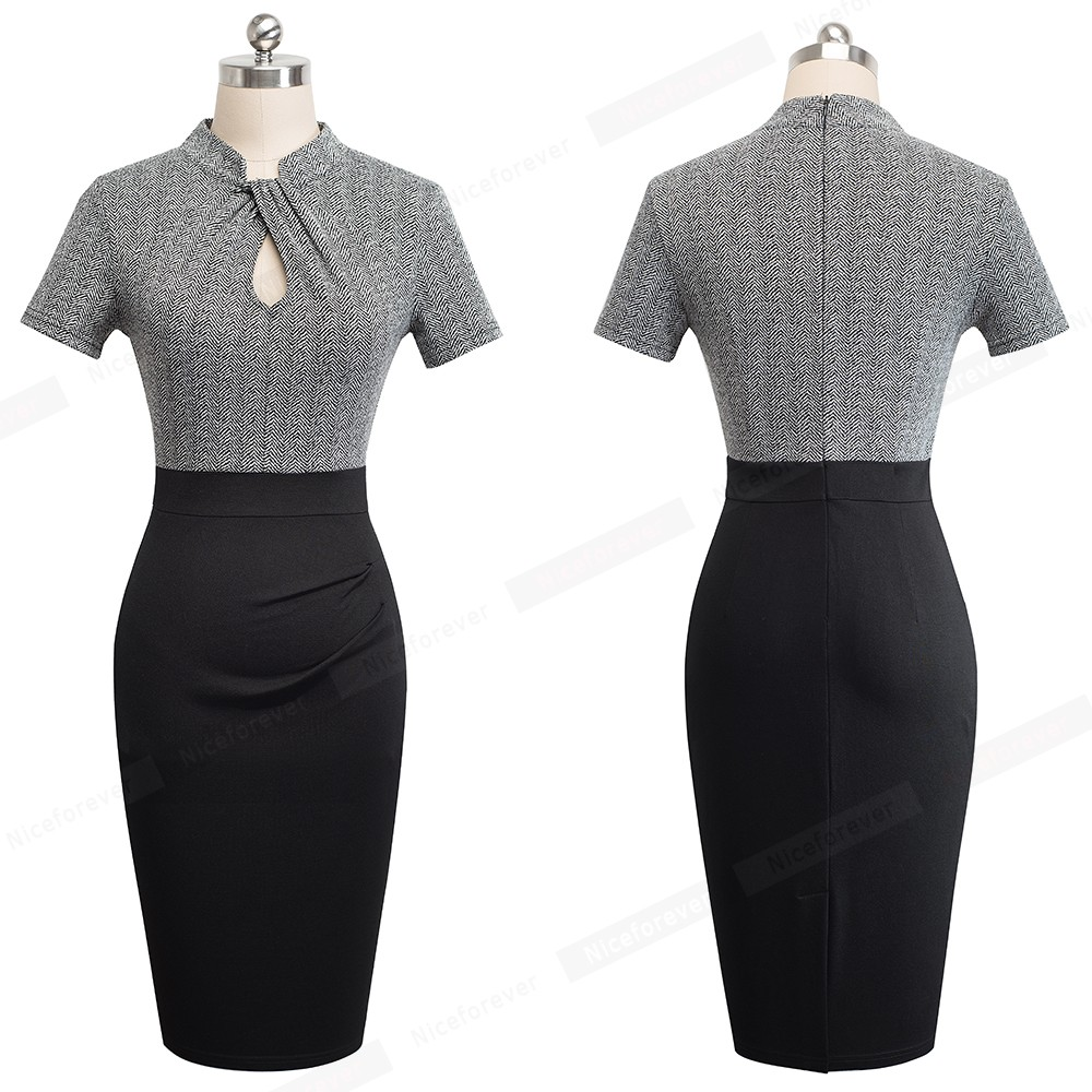 Nice-forever Vintage Contrast Color Patchwork Wear to Work Knot vestidos Bodycon Office Business Sheath Women Dress B430 33