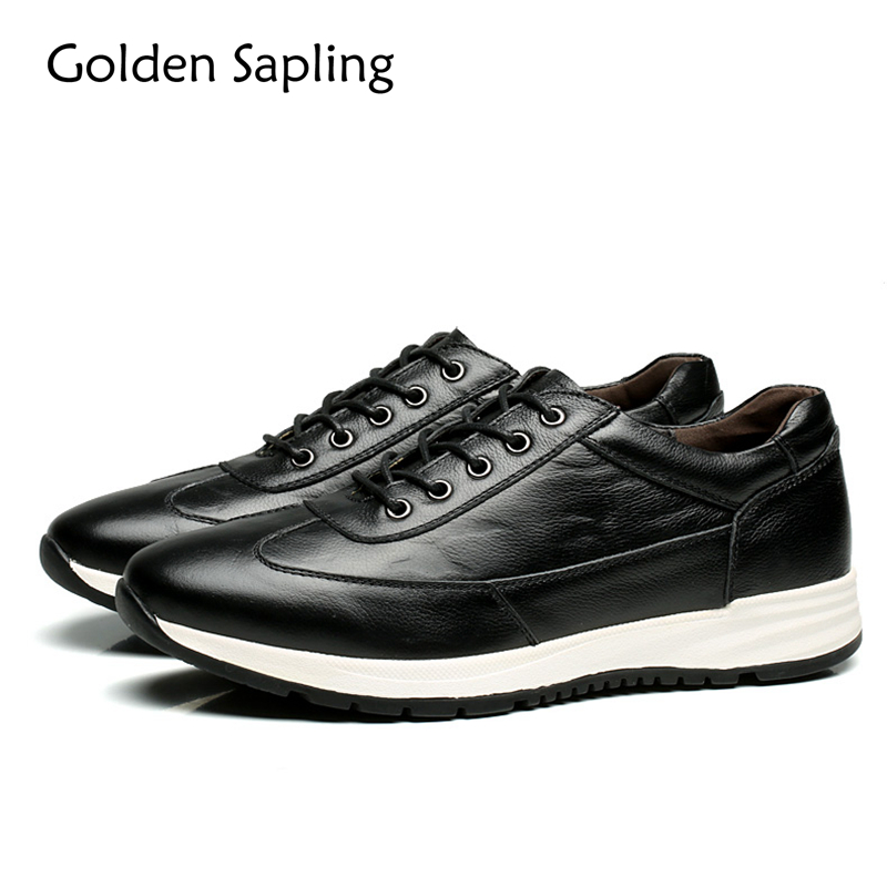 цены Golden Sapling Winter Men's Sneakers Genuine Leather Running Shoes for Men Outdoor Rubber Sole Men's Sport Shoes Male Sneakers