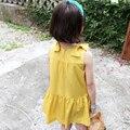 Novo 2016 Verão Meninas Vestidos das Crianças Coreanas de Algodão Bowknot Princesa Amarelo Vestido De Colete Crianças Traje Para 2-7Years