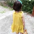 Nuevo 2016 Verano Niñas Vestidos de Los Niños Coreanos Algodón Bowknot Amarillo Vestido Del Chaleco Princesa Infantil de Disfraces Para 2-7años