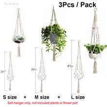 Handmade Macrame Plant Hanger Hook Pot Flower Hanging Pots Decorative for Indoor Balcony Baskets 3Pcs / Pack