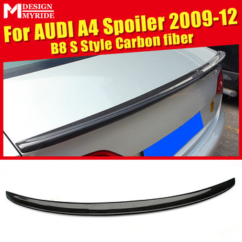 For Audi A4 A4a A4Q Spoiler Tail B8 S Style Carbon Fiber rear spoiler Rear trunk Lid Boot Lip wing car styling Decoration 09-12