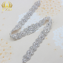 1 piece Clear Rhinestone Applique For Wedding Dresses Trim Crystal Sew On Garment Sash Belt Patches Hot Fix Strass