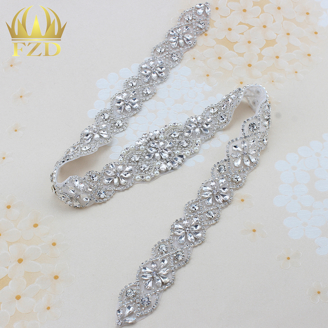 1 piece Clear Rhinestone Applique For Wedding Dresses Trim Rhinestone  Crystal Sew On Garment Sash Belt Patches Hot Fix Strass 2c801087dd69