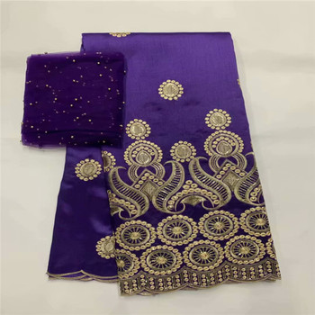African George Lace Fabric With Blouse 5+2 Yards Sets For Evening Dress Design Nigerian Embroidery Guipure George Lace Material