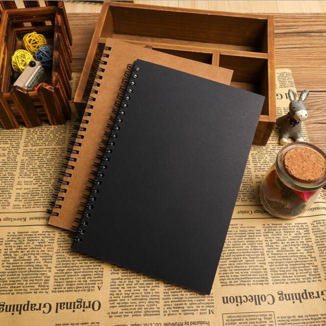 Vintage Kraft Blank Sketchbook For Drawing Graffiti Notebook Journals Spiral Memo Pad Sketch Book Paperlaria Kawaii Stationery