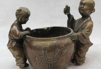 6China Chinese Folk Bronze excellent Two Boy girl Play lotus flower water vat