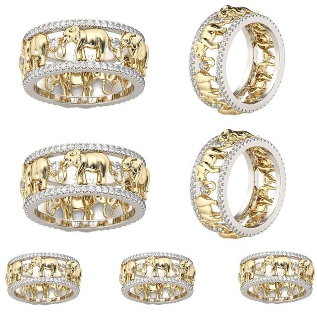 Pure Copper Antique Gold Lucky 3D Elephant Ring Romantic Zircon Unisex Rings
