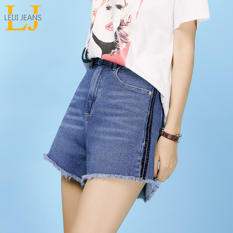 LEIJIJEANS Spring and summer new high waist casual denim ladies   shorts   Flow whisk white retro classic girls jeans   shorts   9053