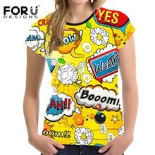 FORUDESIGNS t-shirts Women t shirts Wonder Woman Shirt Colored Drawing shirt Feminina Colorful Streetwear Femmes tshirts Vogue