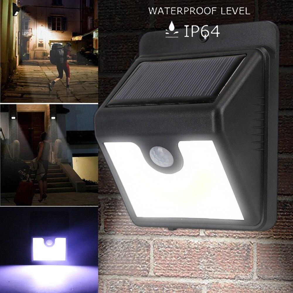 LED solar Wall lamp IP64 ABS Plastic COB lamp bar Solar Power PIR Motion Sensor Wall Light Outdoor Waterproof Garden Lamp 2018