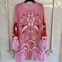 2019 новое платье Для женщин Лето o образным вырезом длинный рукав Элегантный Высокое качество шелковые платья с принтом Для женщин вечерние