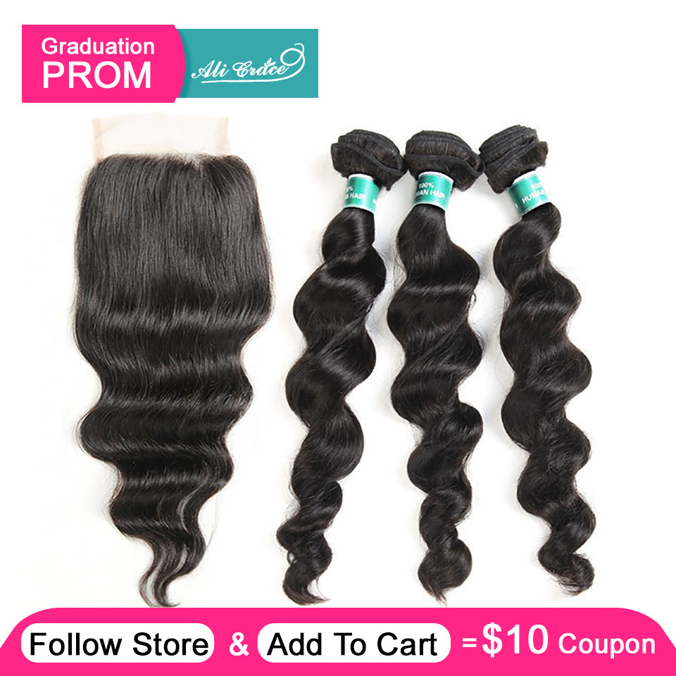 Ali Grace Hair Brazilian Loose Wave Bundles With Closure 100 Remy Hair 3 Bundles With 4