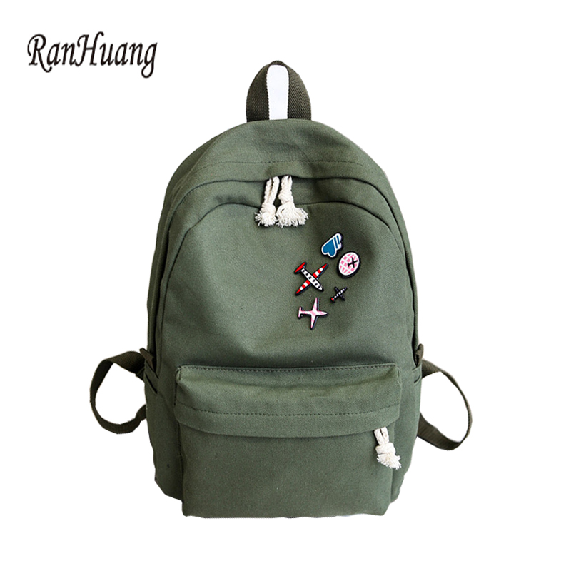 RanHuang Women Casual Canvas Backpack New 2017 Women's Fashion Backpack School Bags For Teenage Girls mochila feminina A695 fashion new women students lovely canvas backpack college small cartoon print sathel multifunction travel bags mochila feminina