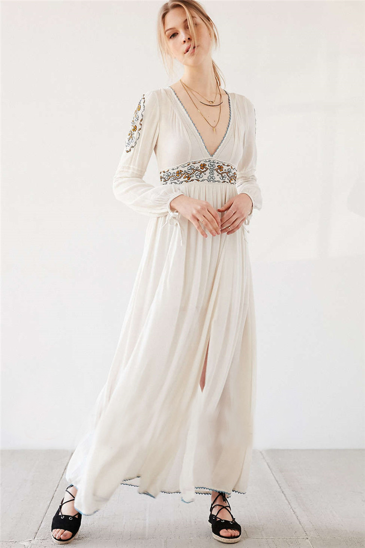 5f5867ce1a Sexy Party women Dress Floral White Maxi Dress cotton bohemian long sleeve  Embroidery V neck elegant Robe longue people Vestidos-in Dresses from  Women s ...