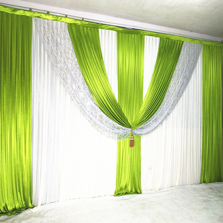 3 6m Silver Sequin Green Drapes White Wedding Backdrop