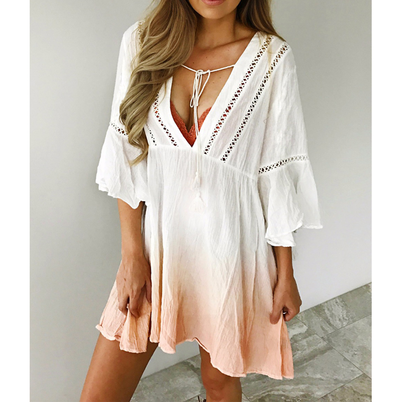 2018 New Arrivals Boho V Neck Half Butterfly Sleeve A Line Gradient White Orange Mini Dress Womens Summer Dresses 2018 Summer