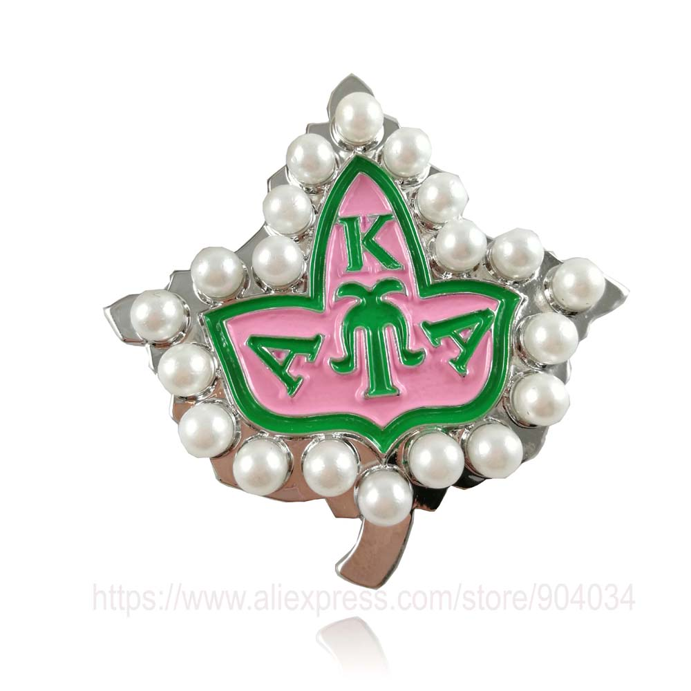 10pcs   AKA 20pearl pink and green enamel brooch  Alpha K Alpha Sorority  pin Jewelry-in Brooches from Jewelry & Accessories    1