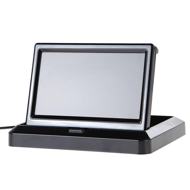 """ANSHILONG Monitor LCD plegable de 5 """"para coche, Monitor retrovisor para cámara de Vista trasera de coche"""