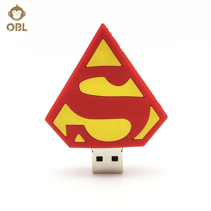 Disk USB Stick Memory Pendrive Stick Storage Device 2016 Superman LOGO USB Flash Drive 128GB 64GB 32GB 16GB 8GB 4GB Pen Drive in USB Flash Drives from Computer Office