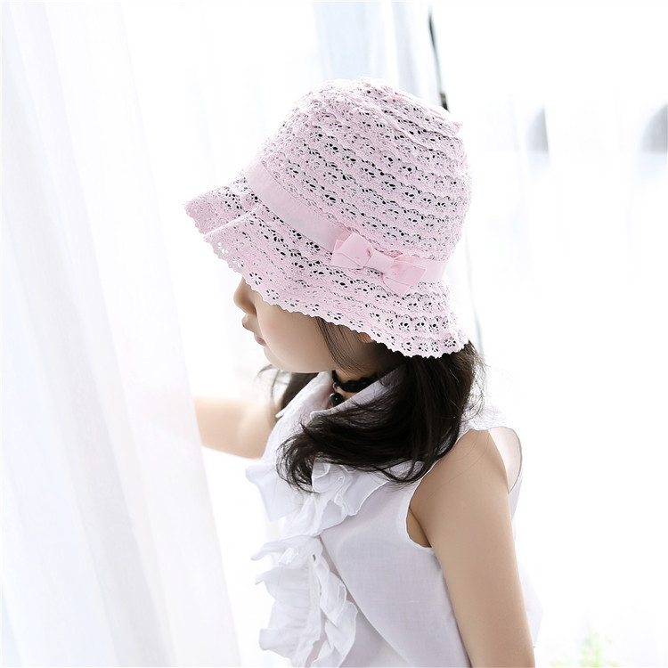 Summer Girls Hats Baby Clochehat Cotton Pink Cap Kids Outdoor Hats Floral Pink Bow Baby Girl Beanie Baby Photography Accessories
