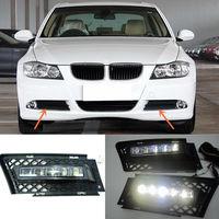 Um Par LED Branco Daytime Running Luz luz de Nevoeiro Para BMW Série 3 2006-2009