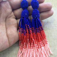 Black red white beaded tassel earrings women dangle statement seed beads earrings vintage bridesmaid dorp earring jewelry gift