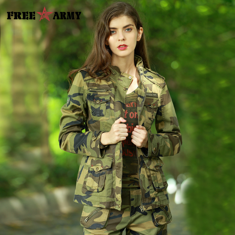 FREEARMY 2017 New Women s Casual Camouflage Jacket Denim Cotton Jacket Military Camo Jackets and Coats