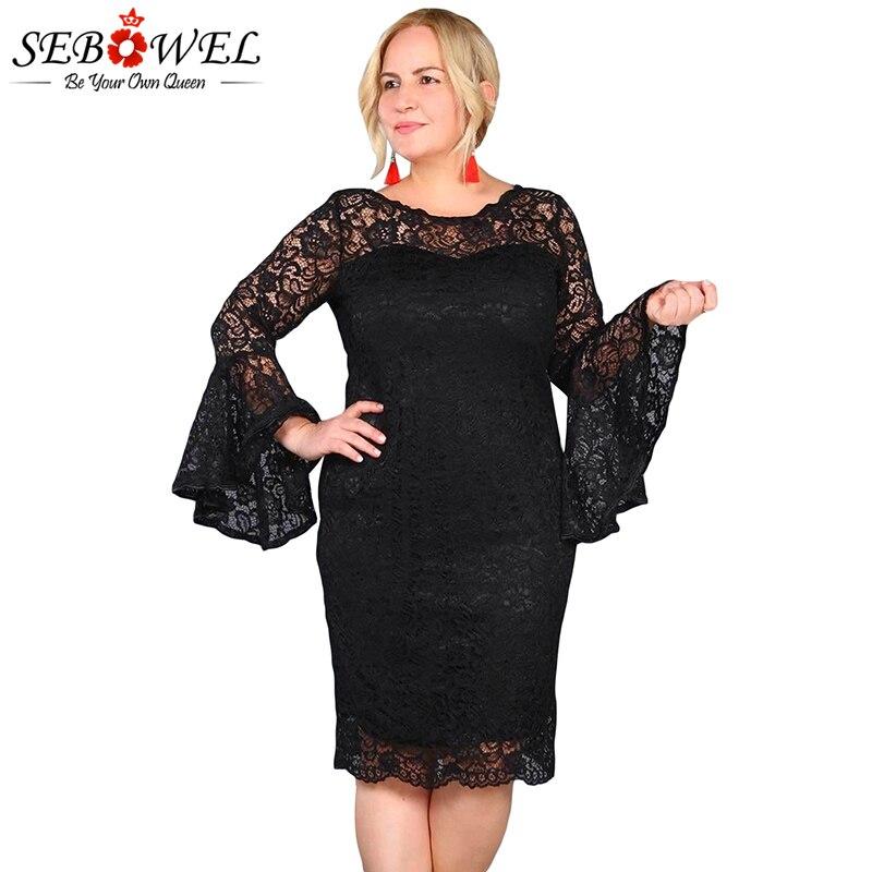 SEBOWEL Plus Size Sexy Black Lace Dress Women Elegant Floral Lace Party Dress Big Size Female Long Sleeve Lace Evening Gown 5XL