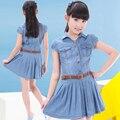 6-13Y niños niñas denim vestidos 2016 nueva moda mini princesa vestido de la solapa de manga corta plisada chicas jeans dress con la correa