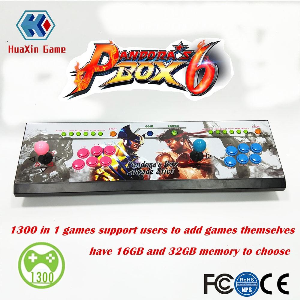 2 lettore 16 GB/32 GB Pandora Box 6 1300 in 1 arcade console di gioco in Grado di aggiungere gioco HDMI VGA usb joystick per pc video gioco di combattimento ps3
