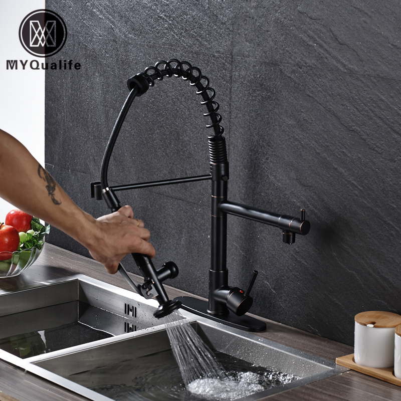 Newly Design Blackened Bronze Finish Kitchen Sink Faucet Black Color Two Water Outlet Spout Spring Mixer Faucets Kitchen Sink Faucet Mixer Faucetfaucet Black Aliexpress