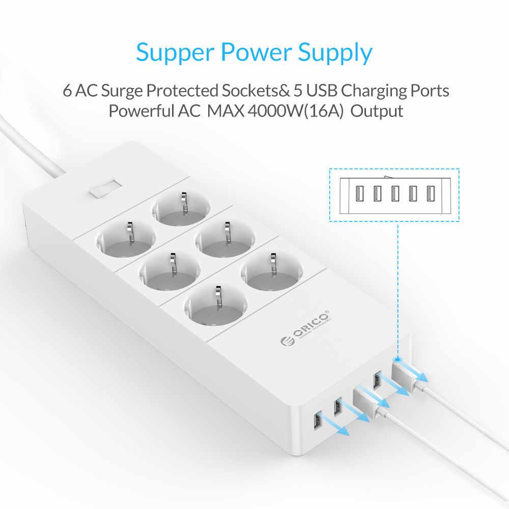 ORICO listwa zasilająca ue podłącz 4/6/8 przeciwprzepięciowa ue listwa zasilająca z 5x2. 4A USB Super ładowarka porty-biały (HPC-V1)