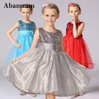 Sequin Elegant Flower Girls Dress Toddler Princess Children Kids Pageant Clothing Mesh Party Tulle Child Wedding Summer Sundress