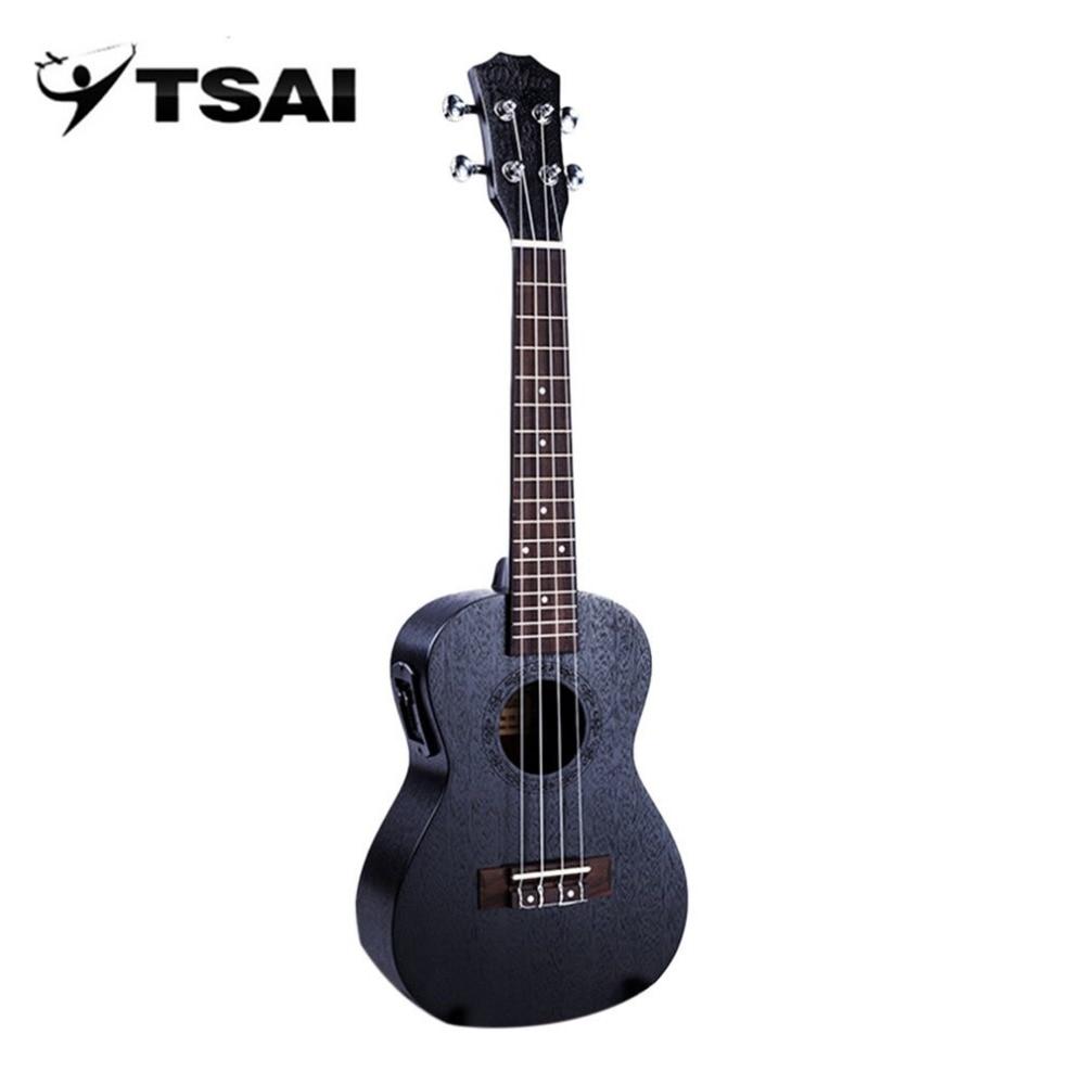 Black Acoustic Electric Ukulele TSAI 23 Inch Portable Size 4 Strings Mahogany Panel Ukulele Hawaii Guitar Musical Instruments