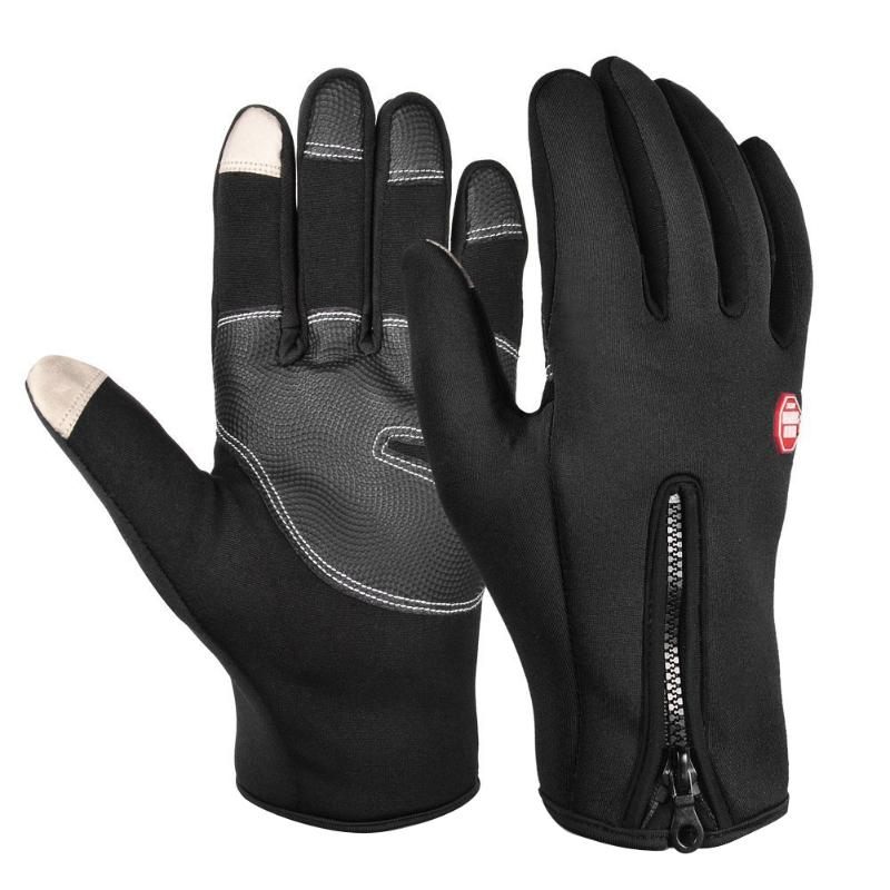 1 Pair Thermal Full Finger Cycling Gloves Shock-proof Winter Warm Touch Screen Sports Mittens Windproof Riding Skiing Gloves
