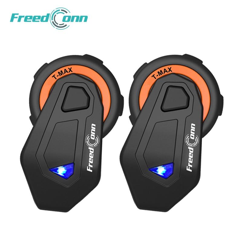 2 pcs FreedConn T-max moto rcycle casque bluetooth interphone 6 coureurs casque avec FM Radio moto intercomunicador Bluetooth 4.1